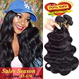 QTHAIR 10a Brazilian Virgin Hair Body Wave 4 bundles 20 22 24 26 inches 400g 100% Unprocessed Brazilian Body Wave Human Hair Weave for Black Women Natural Black Color Tangle Free