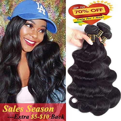 Search : QTHAIR 10A Virgin Brazilian Body Wave Human Hair 3 Bundles (12 12 12,300g,Natural Black) 100% Unprocessed Body Wave Brazilian Human Hair Weave Extensions for African Americans Women