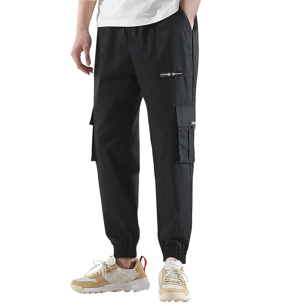 LOVOZO 2019 New Men's Drawstring Casual Beach Trousers Linen Summer Pants Black
