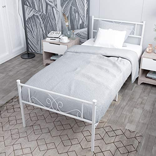 WeeHom Kids Student Single Metal Bed Frame Twin Size with Unique Flower Design Sturdy Metal Frame Premium Steel Slat Support Platform Bed for Guest Room No Boxspring Need White 51tYZiRajWL