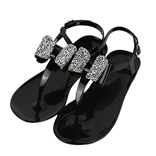 Rhinestone Buckle Bow (iFANS Women Shiny Rhinestone Bow Dress Flat Gladiator Sandals Thongs Sandals)