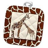3dRose Two Watercolor with Giraffe Animal Print Jungle Safari Theme Potholders, 8'' x 8'', White