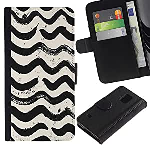For Samsung Galaxy S5 V SM-G900,S-type® Waves Pattern White Black Watercolor - Dibujo PU billetera de cuero Funda Case Caso de la piel de la bolsa protectora