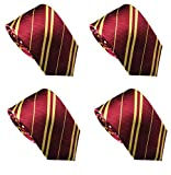 LilMents 4 Pack Pinstriped Formal Necktie Tie Set (Red)
