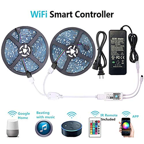 WenTop LED Light Strip, WiFi Wireless Smart Phone Controlled RGB Led Strip Lights Kit UL Led Lights 32.8ft(10M) 300leds LED Strip,Works with Android and iOS System,IFTTT,Google Assistant and Alexa