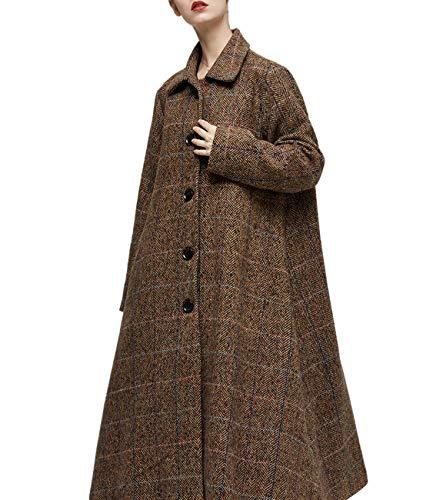 YESNO AG4 Women Fashion Long Maxi Chunky Wool Blend Coat Single Breasted Large Loose Skirt Long Sleeve/Pockets ()
