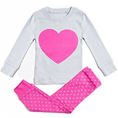 Bluenido Girls Heart 2 Piece Pajama 100% Super Soft Cotton (12m-7y)
