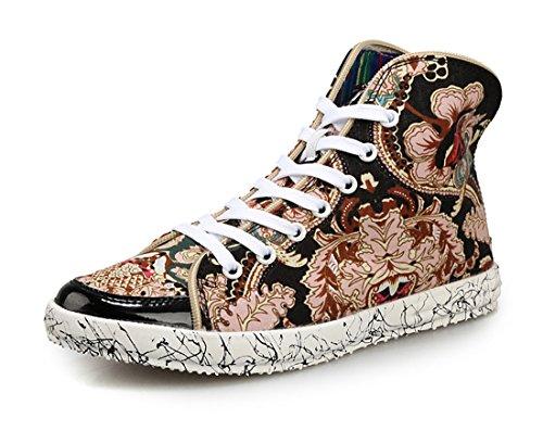 Honeystore Unisexs Sneakers High Denim Stoffschuhe Freizeit Sportliche Flache Schuhe Turnschuhe Flandell Mehrfarbig-01