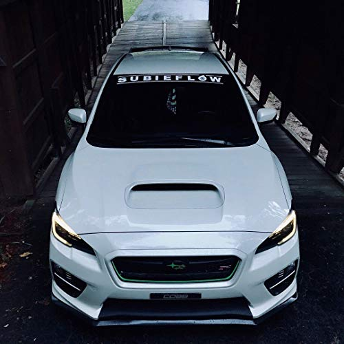 Gy Vinyl Arts Subieflow Windshield, Banners, Windshield, Decals,Car, Stickers, Compatible, Subaru, ej20, WRX, STI, BRZ (White)
