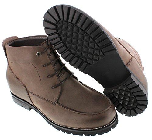 calto-G0603-7,6cm Grande Taille-Hauteur Augmenter Chaussures ascenseur (en nubuck marron foncé à lacets moc-toe)