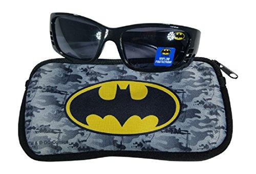 Batman Boys Black Sunglasses with Soft Case 100% UVA & UVB - Kids Sunglasses Batman