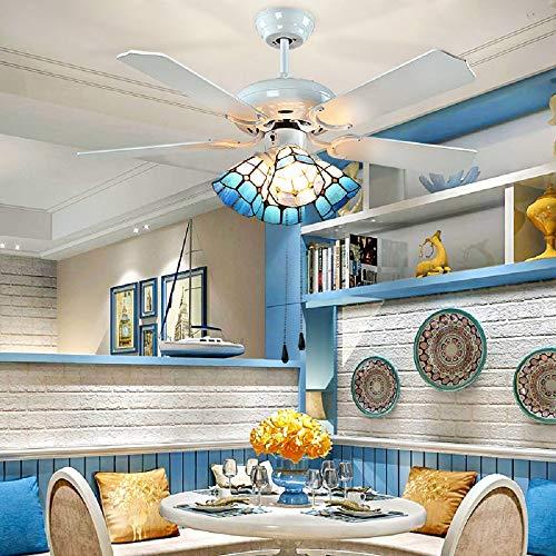 Le Fan Tiffany 42 Inch Ceiling Fan with 4 Light Pull Rope Fan European Living Room Dining Room Fan Light Mediterranean Style Fan Chandelier Wood Leaf Fan Light for Indoor Rooms (White) -
