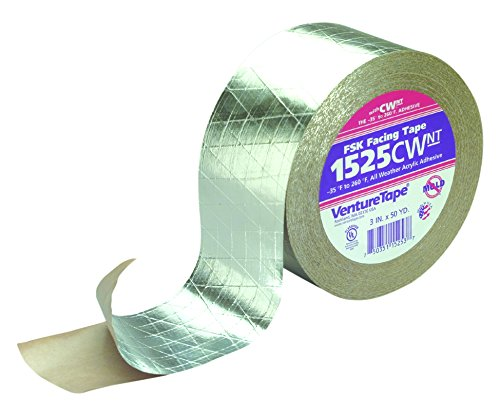 3M Venture Tape FSK Facing Tape 1525CW Natural Aluminum, 72 mm x 45.7 m (Pack of 16) by Venture Tape