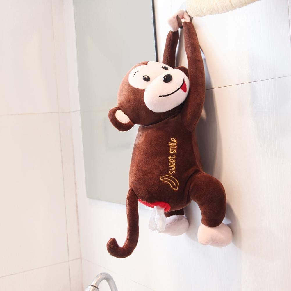 Servietten Papierhandt/ücher Lagerung Inhaber f/ür Auto Badezimmer Waschtisch Arbeitsplatten Schlafzimmer Pl/üsch Tissue Tray Box Cover h/ängen niedlichen Anime Spielzeug Monkey innovative Tissue Case