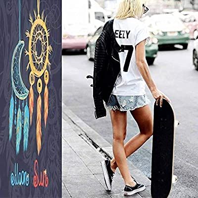 Classic Concave Skateboard Card with Dream Catcher Longboard Maple Deck Extreme Sports and Outdoors Double Kick Trick for Beginners and Professionals : Sports & Outdoors