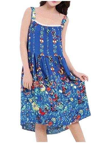 Coolred-Women Plus Size Sling Floral Poplin Lounger Pajama Sleep Dress Dark Blue (Sleeveless Lounger)