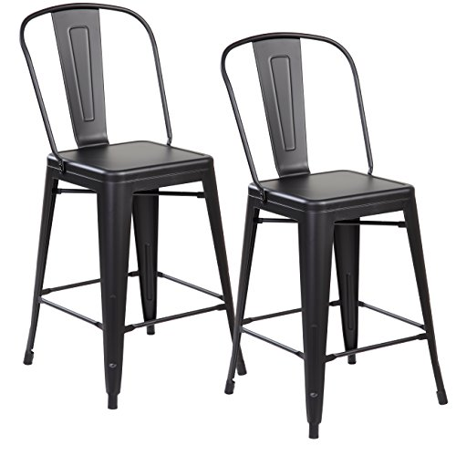 Cheap Modern Industrial Metal Counter Height Bar Stools with Backs Set of 2 Vintage Tolix Cafe Chairs Matt Black 26 inch