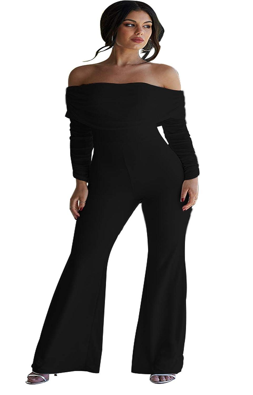 Womens Long Sleeve Jumpsuits Off Shoulder Long Sleeve Wide Leg Jumpsuit