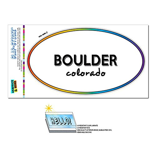 Graphics and More Rainbow Euro Oval Window Laminated Sticker Colorado CO City State Ala - Mon - (Boulder Sticker)