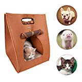 Pet Cat Carrier Soft Sided Travel Bag Carrier For Cat Puppy Kitten Cave Bed 3 In 1 Multifunctional Folding For Storage Protable Pet Travel Carrier (Brown)