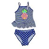 Estamico Little Girls' Summer Two Piece Tankini Kids Swimsuit Bathing Suit Swimwear, Pineapple Blue 4