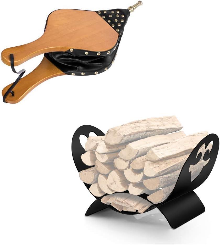 """AMAGABELI GARDEN & HOME Fireplace Bellows 19""""x 8"""" + Bundle + Fireplace Log Holder Firewood Basket"""