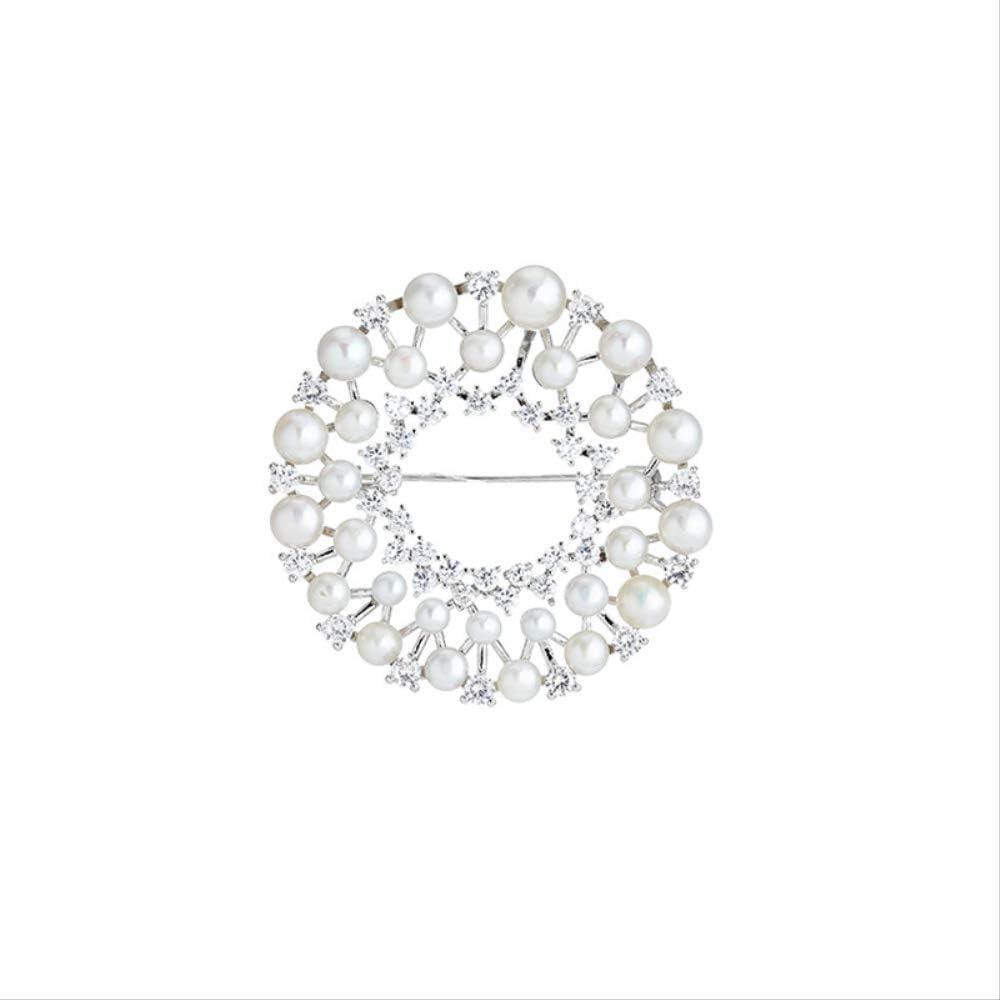 Duyifan El NuevoBroche de circón de Perlas con Anillo de Oro de14Quilates y Accesorios geométricos para Hombres y Mujeres se Pueden Usar como Colgantes