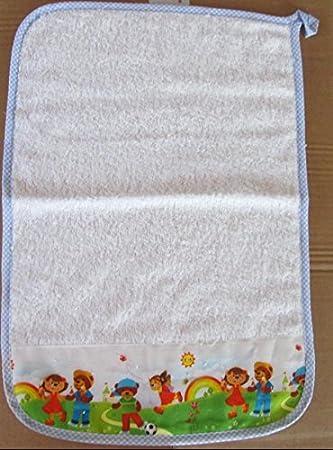 Asciugamano Bambino Asilo cm 35x52. In spugna italiana Cotone 100%. Con asola per essere appeso, con balza Giardino applicata Terra e Colori
