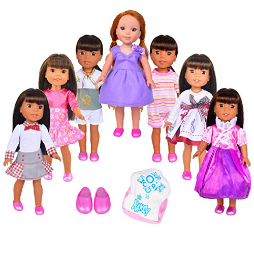 Ebuddy Random Doll Clothes 9pc/Set for 14 inch and 14.5 inch American Girl Doll Wellie Wishers Willa Dolls