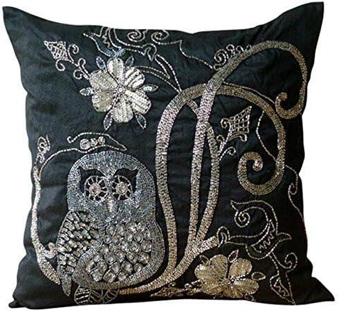 The HomeCentric Decorative Black Euro Pillowcases 26×26 inch 65×65 cm , Silk Euro Pillow Cases, Birds, Owl, Beaded, Modern Euro Pillow Shams – Night Owls