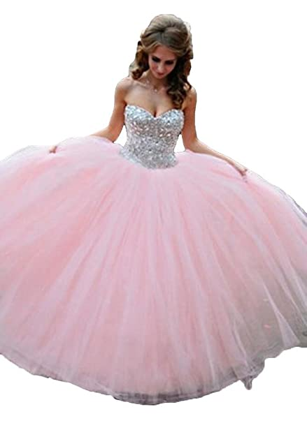 Lovelybride Crystal Beaded Pink Quinceanera Dress 2015 Party Debutante Gowns at Amazon Womens Clothing store: