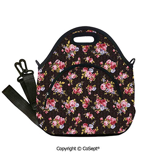 (Waterproof Lunch Shoulder Bags,Pattern with Old Fashioned Corsage and Bouquets Antique Feminine Floral Inspired Grace,for School Travel Picnic Office(12.59x6.29x12.59 inch) Multicolor)