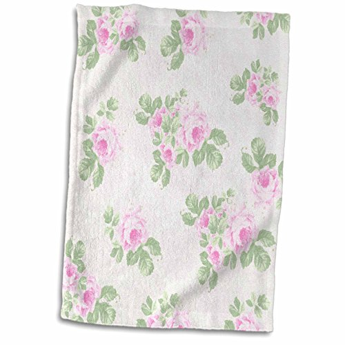 3D Rose Vintage Pink Pattern-Rose Flowers On Light Cream Damask-Shabby Chic Sun-Faded Look Floral Hand/Sports Towel 15 x 22 Multicolor