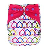 Pocket Cloth Diaper Stay-Dry Charcoal Bamboo, One Size 10-35Lb (Hearts)