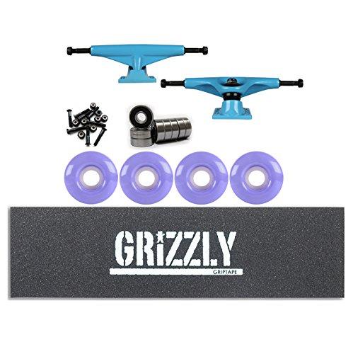 正しく予算落とし穴テンソルSkateboard TrucksキットマグネシウムブルーGrizzlyスタンプグリップ、軸受、ホイール
