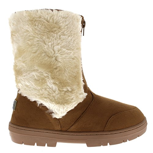 Womens Short Faux Fur Lined Warm Snow Comfy Outdoor Walking Snow Boots Tan cMzxiMwZa0