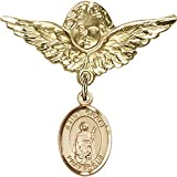 14kt Yellow Gold Baby Badge with St. Grace Charm and Angel w/Wings Badge Pin 1 1/8 X 1 1/8 inches