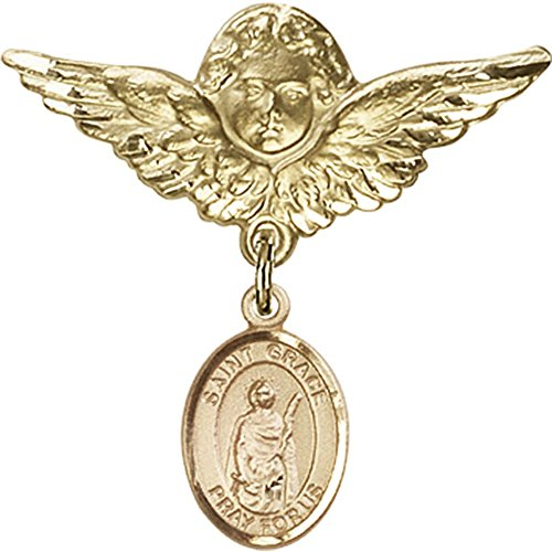 14kt Yellow Gold Baby Badge with St. Grace Charm and Angel w/Wings Badge Pin 1 1/8 X 1 1/8 inches by Bonyak Jewelry Saint Medal Collection