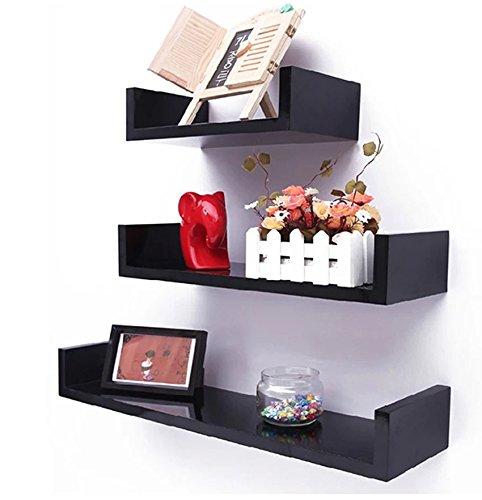 UPMIK Floating Wall Shelves Set of 3 Display Shelf U Shape Storage [US Stock] (Black) For Sale