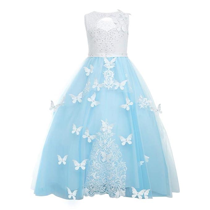Amazon.com: Vestido largo de encaje con diseño de flores ...