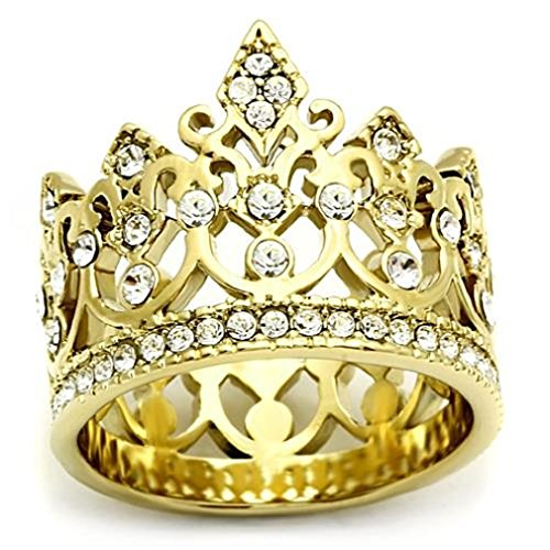 Stainless Steel Gold Tone IP Filigree Queen King Royalty Crown Ring, Size