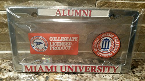 New - Miami of Ohio Alumni Red Hawks Metal License Plate Frame - Auto Car Truck Chrome Oxford