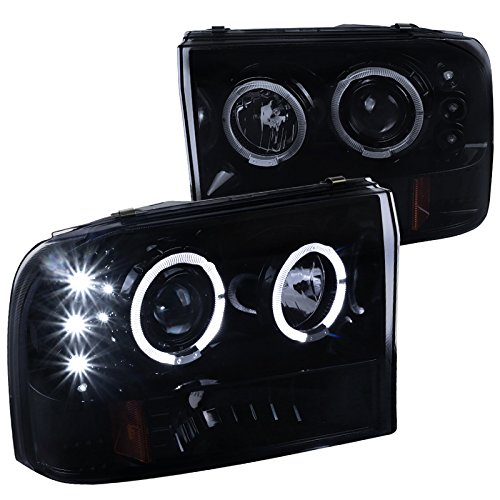 Spec-D Tuning 2LHP-F25099G-TM Ford F250 Led Dual Halo Glossy Black Projector Head Lights - Excursion Projector Headlights