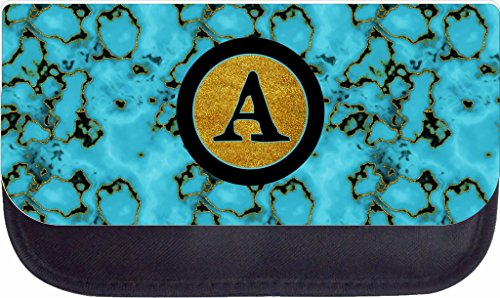 Turquoise Gilded Marble Rosie Parker Inc. TM Custom Pencil Case - Customize Yours Now!