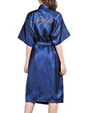 Kimono para Mujer, Batas de Casa con Escote de Seda Ropa de Dormir Albornoz Dama