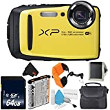 Fujifilm FinePix XP90 Yellow Waterproof Digital Camera Bundle with 64GB Memory Card, Carrying Case More (International Version)