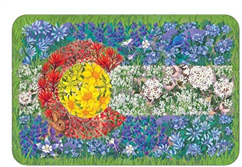 Colorado Wildflower Flag Sticker Mountain Tough Outdoor Stickers Waterproof Vinyl (4.5 Wide).