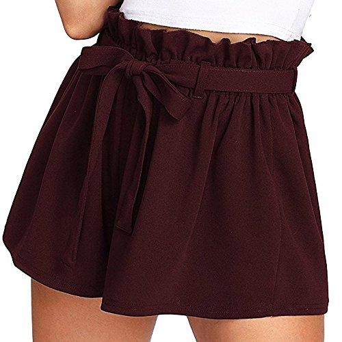 ▶HebeTop◄ Trouser Shorts for Women, Summer Soft Outwear Loose Leisure Shorts Casual High Waist Short Trousers Wine