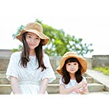 AMEA Children's straw hat + mother straw hat, sun hat beach sunscreen children, mother and child's hats