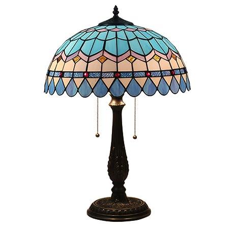 WMING Tiffany Lámpara de Mesa de Estilo mediterráneo Dormitorio ...